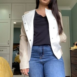 Asymmetrical white blazer jacket